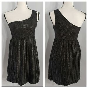 FOREVER 21 pleated one shoulder metallic dress M